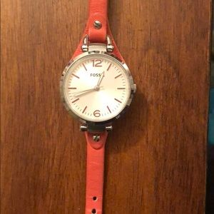 Fossil Georgia style Peach colored leather watch